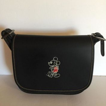 CREY9N Disney X Coach Mickey Leather Patricia 23 Shoulder Bag Black New with Tags