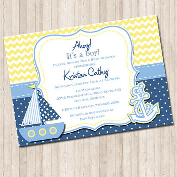 Custom Nautical Baby Shower Invitation- chevron yellow and blue polka dot