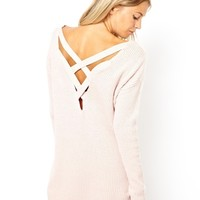 ASOS Chunky Jumper With Strap Cross Back at asos.com