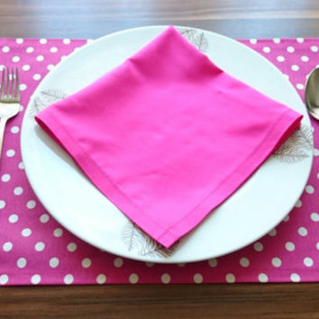 Set of 4 Pink Napkins and Polka Dot Placemats Set, Pink Napkins, Table Decor, Dining Decor, Handmade Set