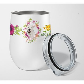 White Pit Bull Terrier Pink Flowers Stainless Steel 12 oz Stemless Wine Glass CK4268TBL12