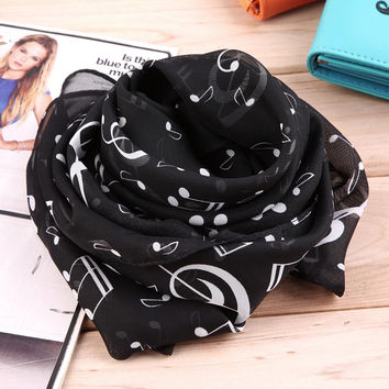 New Fashion Musical Note Chiffon Scarves Women's Scarf Shawl Long Stoles Spring Muffler Chiffon Infinity Scarf New Hot Selling