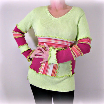 Womens Upcycled Sweater, OOAK Womens Sweater, Eco Upcycled Tunic Sweater, 100% Handmade Sweater, Altered Clothing by Pandora's Passions