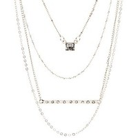RHINESTONE BAR & CUBE LAYERED NECKLACE