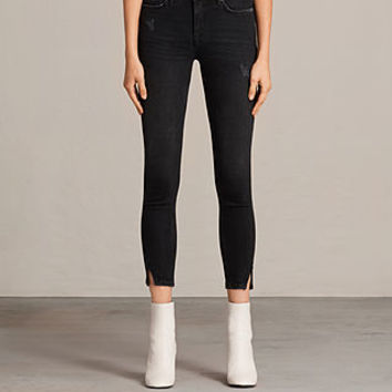 ALLSAINTS UK: Womens Muse Slim Destroys Jeans (Washed Black)