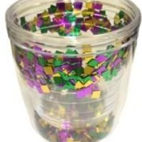 12oz Plastic Double Lined Cup w/ Purple/ Green/ Gold Confetti Inside