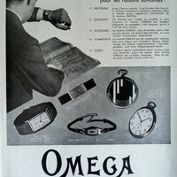 OMEGA watches vintage advertising, Omega poster collectible for framing, French magazine poster A3, old magazine ad 1931, illustration print
