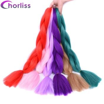 Chorliss 24inch(65cm) Solid Color Jumbo Braids Synthetic Crochet Hair Extensions Ombre Braiding Hair Bundles 100g/pack