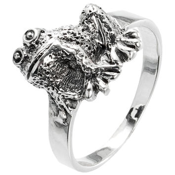Frog Happy Sterling Silver Ring