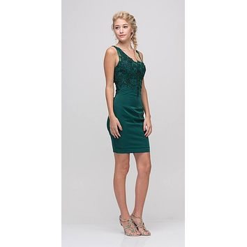 Hunter Green Short Party Dress with Lace Appliques