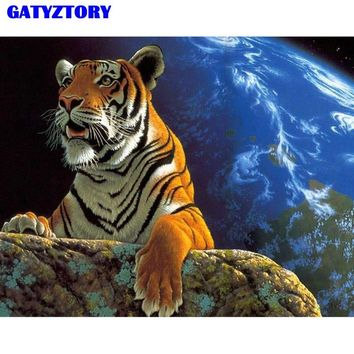 Frameless Tigers Animal DIY Painting By Numbers Kits Coloring Oil Painting On Canvas Drawing Home Artwork Wall Art Picture