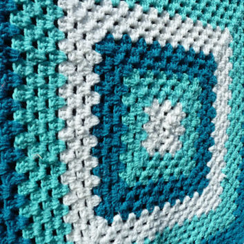 Teal and Blue Afghan Blanket by TheWhistlingPine on Etsy