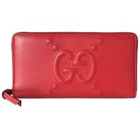Gucci Red Apollo Dadini Embossed GG Leather Wallet 453393