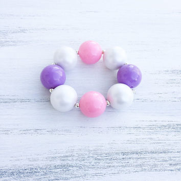 Pink and Purple Bubblegum Necklace with bow / Pink Charm Chunky Necklace / Girl Toddler Necklace / 1st Birthday Necklace / Baby Photo Prop