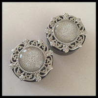 PICK SIZE Silver Glitter Dome Plugs Wedding Christmas Girly Plugs