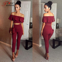 Sexy White Elegant Jumpsuit for Women Playsuit Solid Rompers Two PieceS Outfits Pants Cut Out Backless Top Drop Shipping