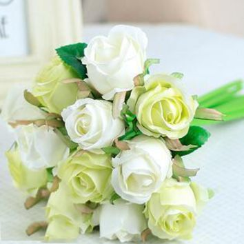 Artificial Rose Silk Flowers Bouquets Wedding Party Decoration