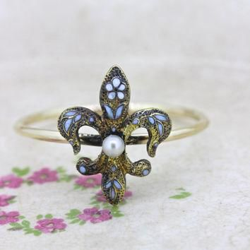 Antique Fleur De Lis Ring | Art Nouveau Pearl Ring | Enamel Flower Ring | Tiny Gold St