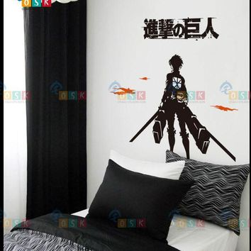 Cool Attack on Titan DCTAL  Decal Japanese Cartoon Wall Stickers Glass Sticker Wall Decor Wall Decals Home Decor  Decal AT_90_11