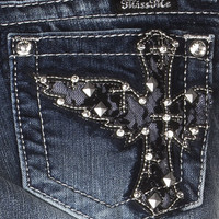 Tween Miss Me Medium Wash Lace Wing Cross Skinny Jeans