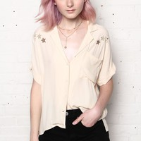 In The Stars Embroidered Buttondown Shirt - Cream