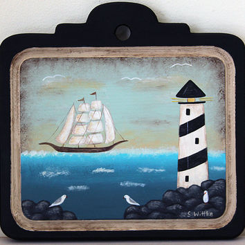 Beach Folk Art Primitive Painting on Wood Plaque -READY TO SHIP- Nautical theme, Lighthouse, Sailing Ship, Rocky Beach, Seagulls, Sea Green