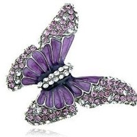 Butterfly Purple Enamel Crystal Rhinestone Spring Fashion Custom Ring