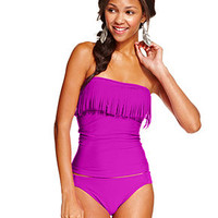 Hula Honey Fringe Bandeau Tankini Top & Side-Tab Hipster Bikini Bottom