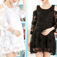 Korean Style Summer Fashion 3D Flowers Lace Sweet Cute Maternity Dress = 1946464580