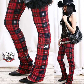 Punk Straight Leg Red Plaid Tartan Thermal Long Legging S.M.L