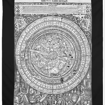Reiki Charged Vintage Zodiac Tapestry Black and White Mandala Wall Hanging