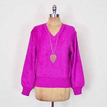 Vintage 70s 80s Fuchsia Pink Terry Cloth Top Shirt Blouse Sweater Jumper Terrycloth Top Velour Top Soft Fuzzy Shaggy V-Neck M Medium L Large