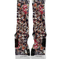 Michael Jordan MJ Fast Shipping!! Nike Elite Socks Customized JORDANS