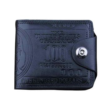 US Dollar Bill Wallet Brown Leather Wallet Bifold Credit Card Photo