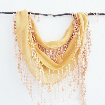 ON SALE Solar Power Butter Cream Yellow Trendy Color Fashion Lace Scarf  Fringed Chunky Headband Bandana Cowl Lariat