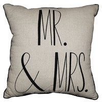 Spencer ''Mr. & Mrs.'' Throw Pillow (Nat/Blk)