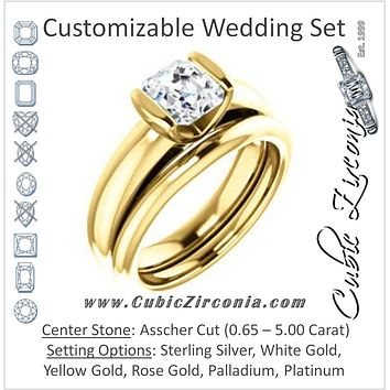 CZ Wedding Set, featuring The Liza Bella engagement ring (Customizable Asscher Cut Cathedral Bar-set Solitaire)