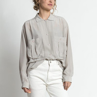 Vintage 90s Pale Gray Silk Oversized Blouse with Pockets | M/L