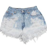 Distressed Shorts / Studded Shorts / Ombre Shorts /Studded Denim Shorts / High Waisted Shorts -30 Waistk