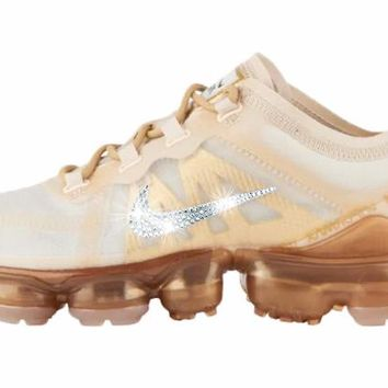 Nike Air VaporMax 2019 + Crystals - Cream/Sail Light Bone/Metallic Gold