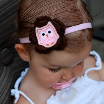 Baby Girl Pink and Brown Owl Headband by FlowersforBella on Etsy