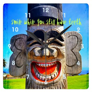 """Smile"" funny laughing silly face photo wall clock"