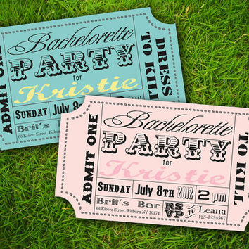 Vintage Classic Fun Carnival Circus Ticket Customizable Bachelorette Party Invitation Card - DIY Printable