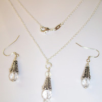 ANTIQUE SILVER Crystal Jewelry Set, 925 Silver Necklace with Swarvoski Crystals Matching Earrings, Wedding Jewelry, Romantic Jewelry Set