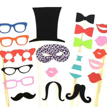 Photo Booth Props Party Pack Set of 20 Wedding Photo Booth Props Party Photo Props Decorations Party Supplies Masks Glasses Mustache