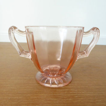 Pink depression glass open sugar bowl