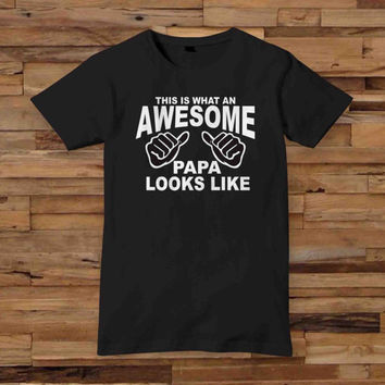 awesome papa white T shirt White Black Dsign t-shirt men S,M,L,XL