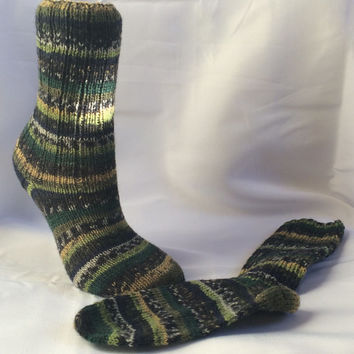 Knit Wool Socks Green Knit Socks Striped Socks Hand Knit Socks Wool Socks Knitted Socks Knitted Green Socks