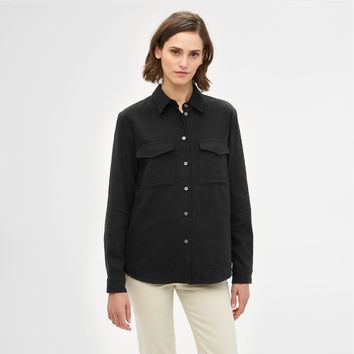 Cotton Safari Shirt - Black