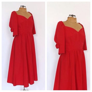 Vintage 1980s does 1950s Rose Red Prom Dress Size Small Tutu Dress Party Cocktail Cupcake Dress Bridesmaid Gown Rockabilly 50s Prom Small